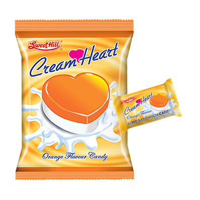 Cream Heart Orange Bag